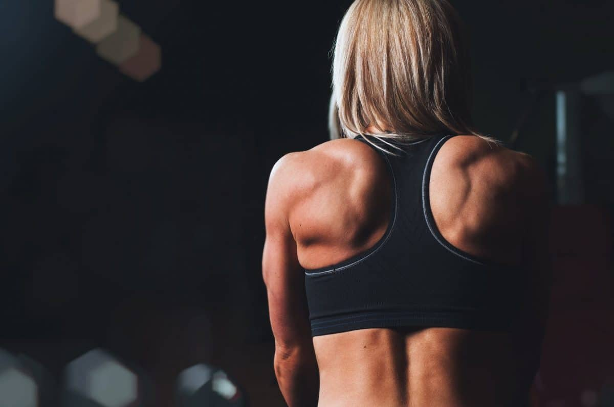 A woman's back after working out